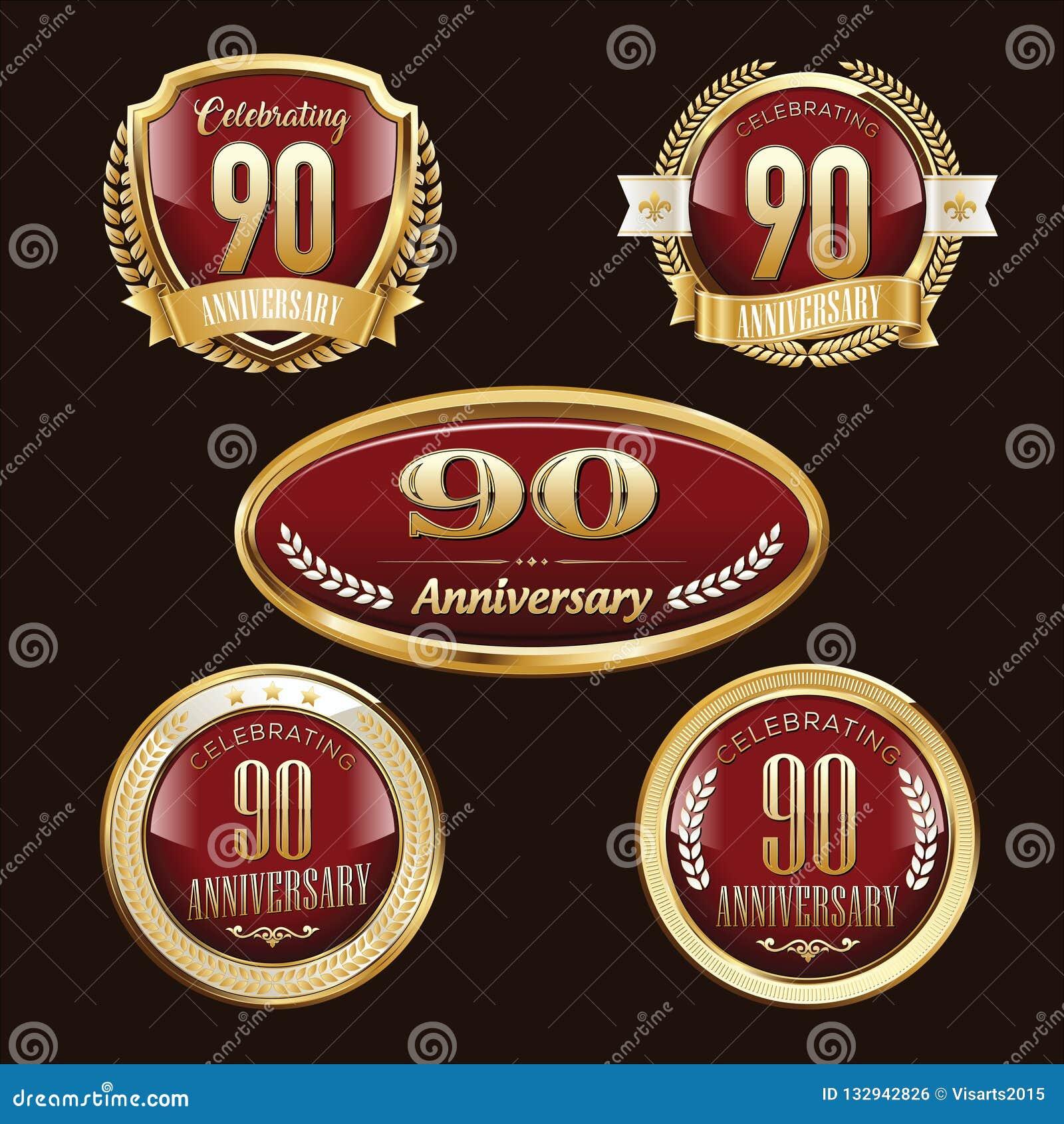 90th Rocznicowi emblematy ustawiający