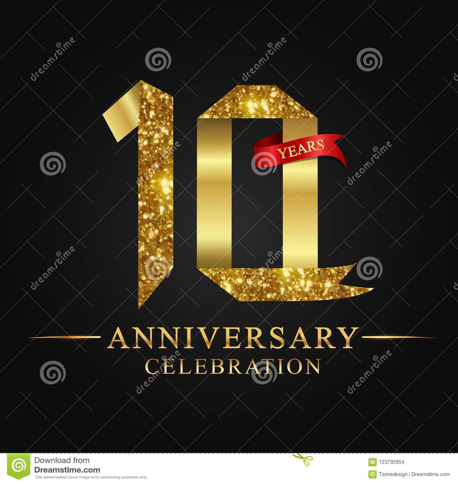 10th rocznicowy roku świętowania logotyp Loga tasiemkowego złota numerowy i czerwony faborek na czarnym tle