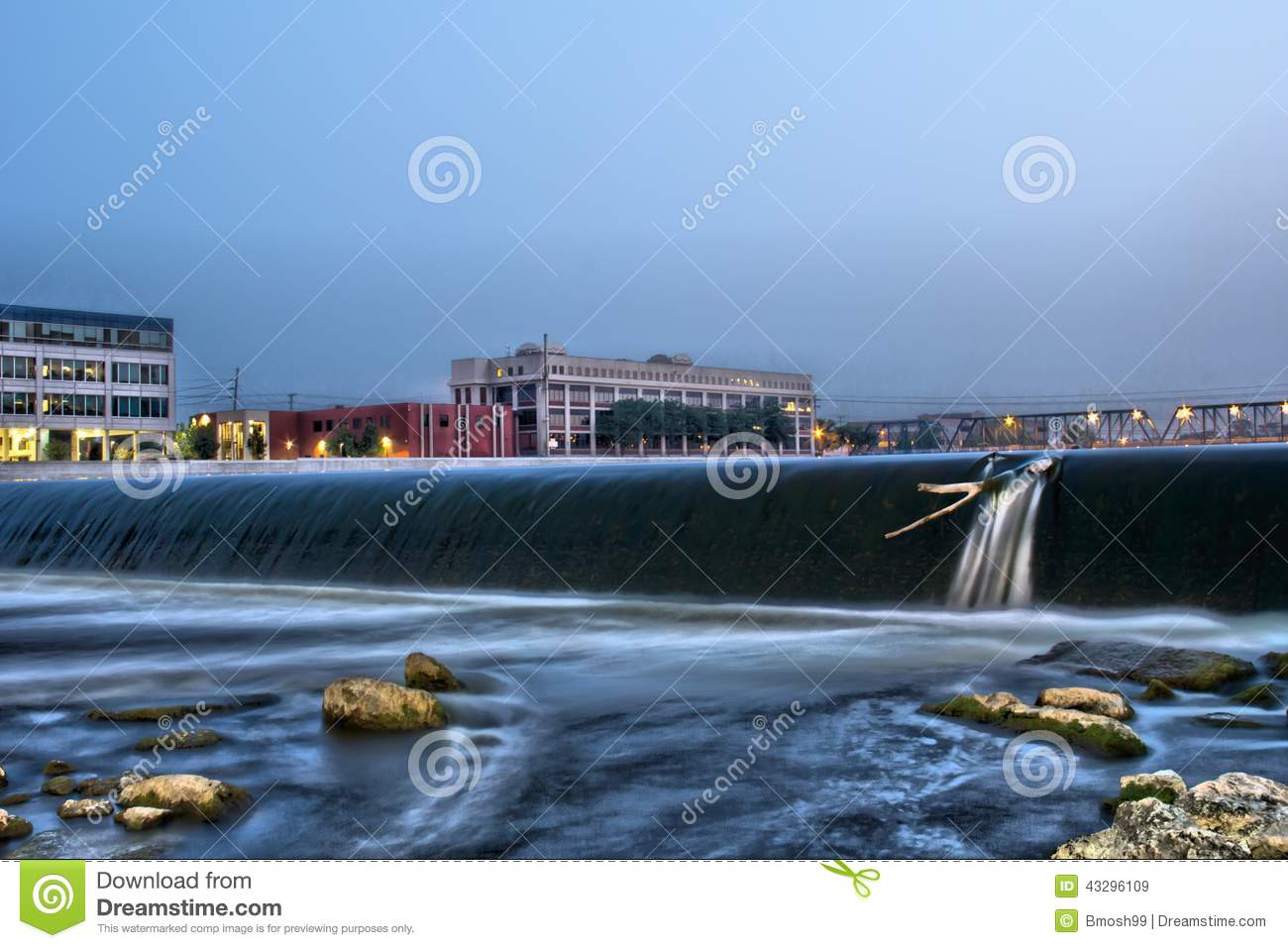6th street dam and bridge in grand rapids stock image for Michigan fishing license prices
