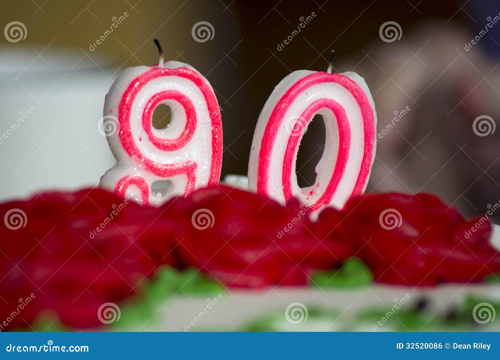 90th Velas do bolo de aniversário
