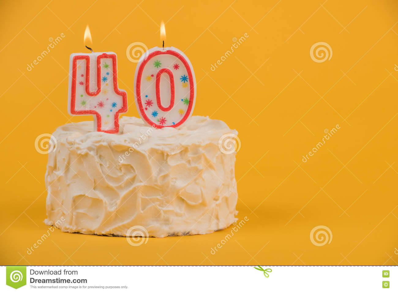White Frosted Cake With 40 Candles