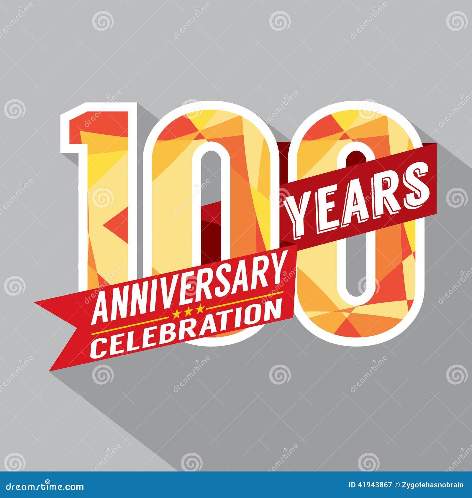 100th Years Anniversary Celebration Design Stock Vector Image