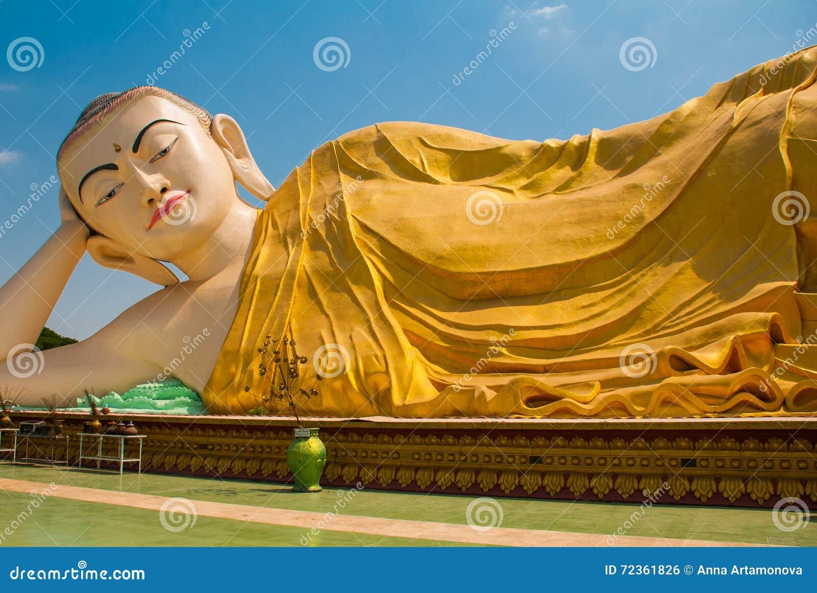 砂海螂Tha Lyaung斜倚的菩萨 Bago Myanma 缅甸