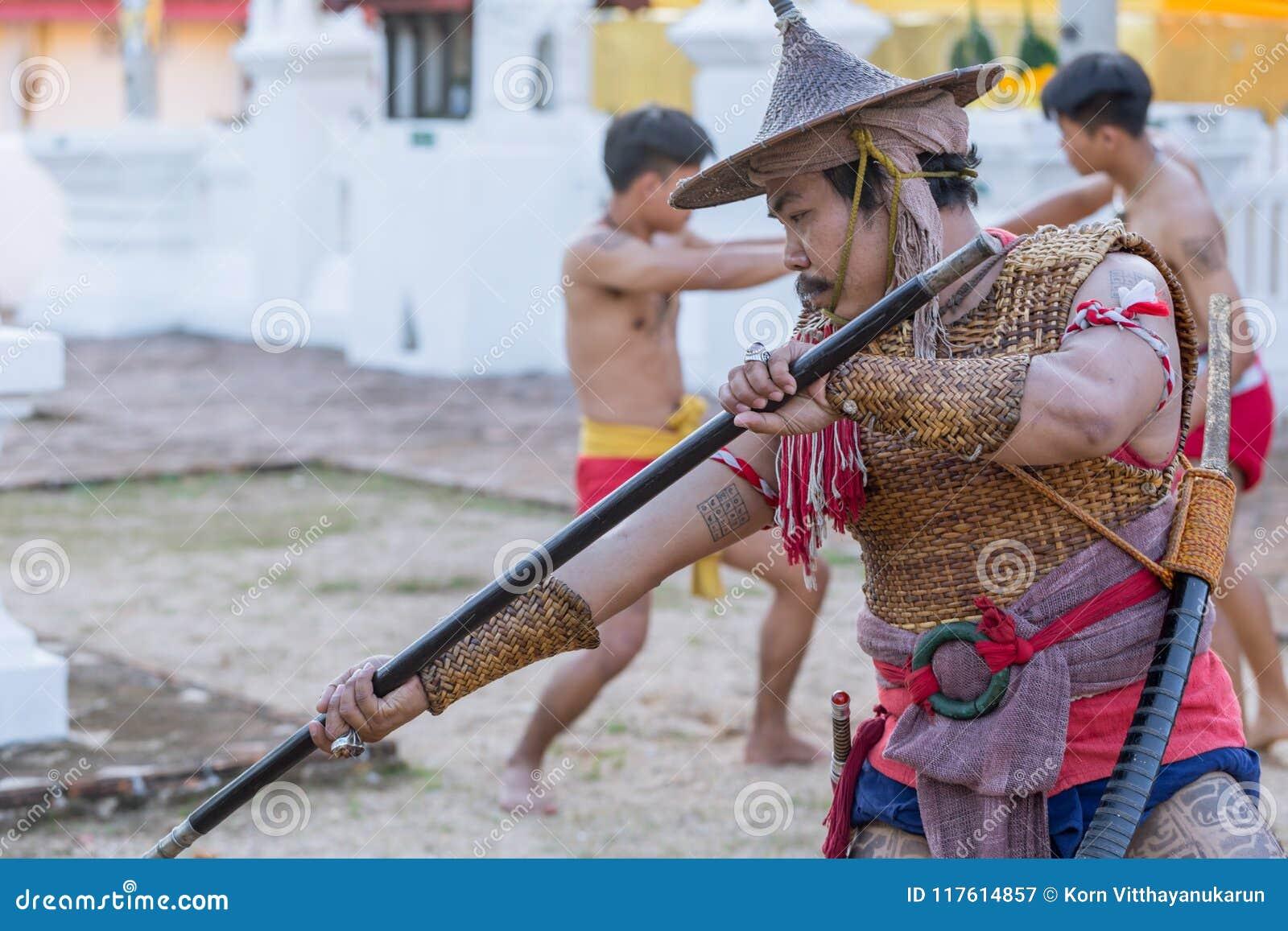 Thai Ancient Warrior Swordsmanship Fighting Action With