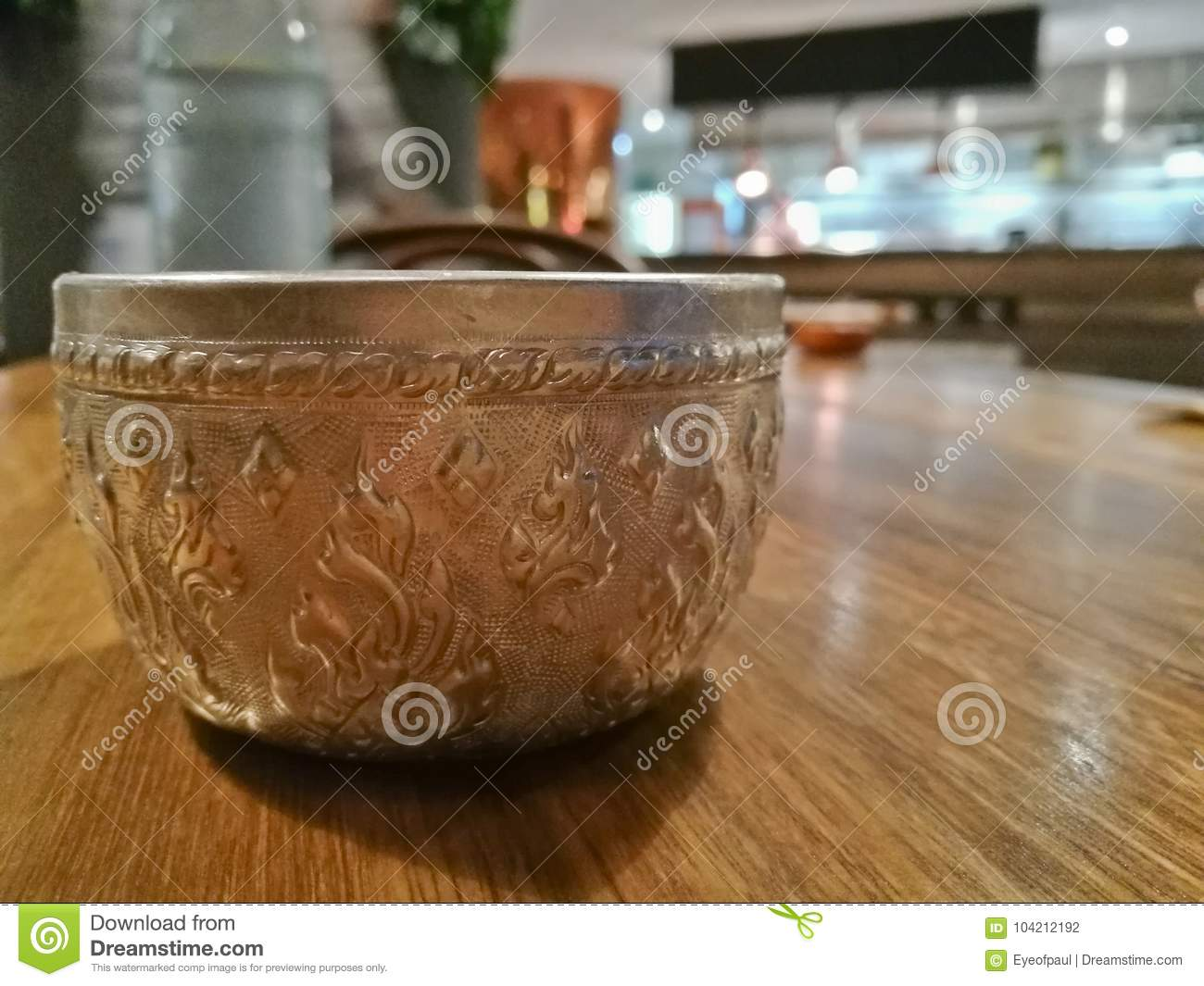 Thai Antique Ancient Aluminium Cold Water Silver Drinking Cup Stock