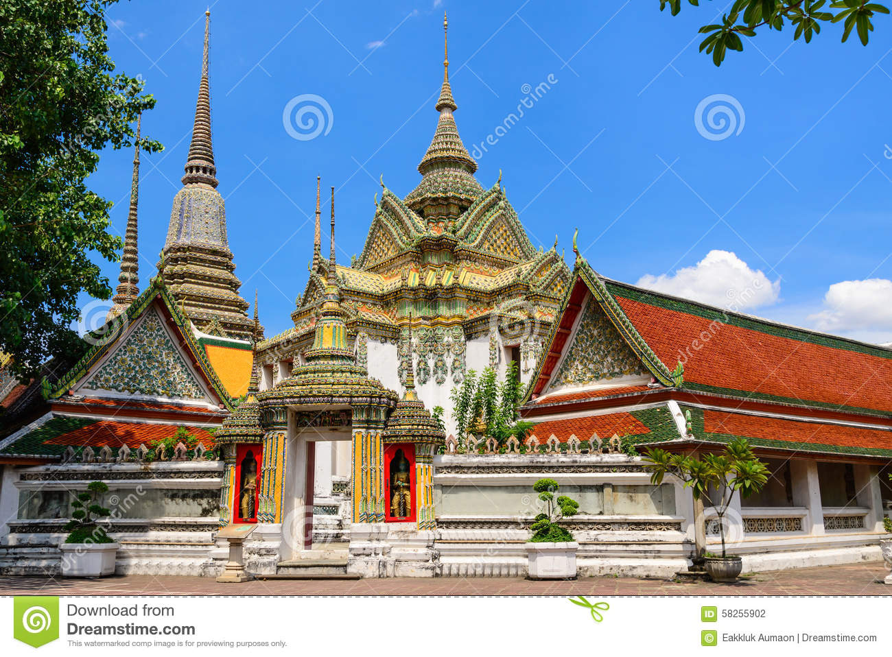 Thai architecture in wat pho at bangkok thailand stock for Wat architecture