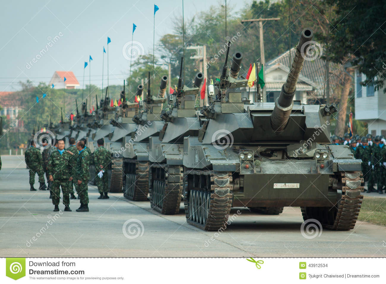 Thai Army Tanks In Royal Thai Armed Force Day 2014 Editorial