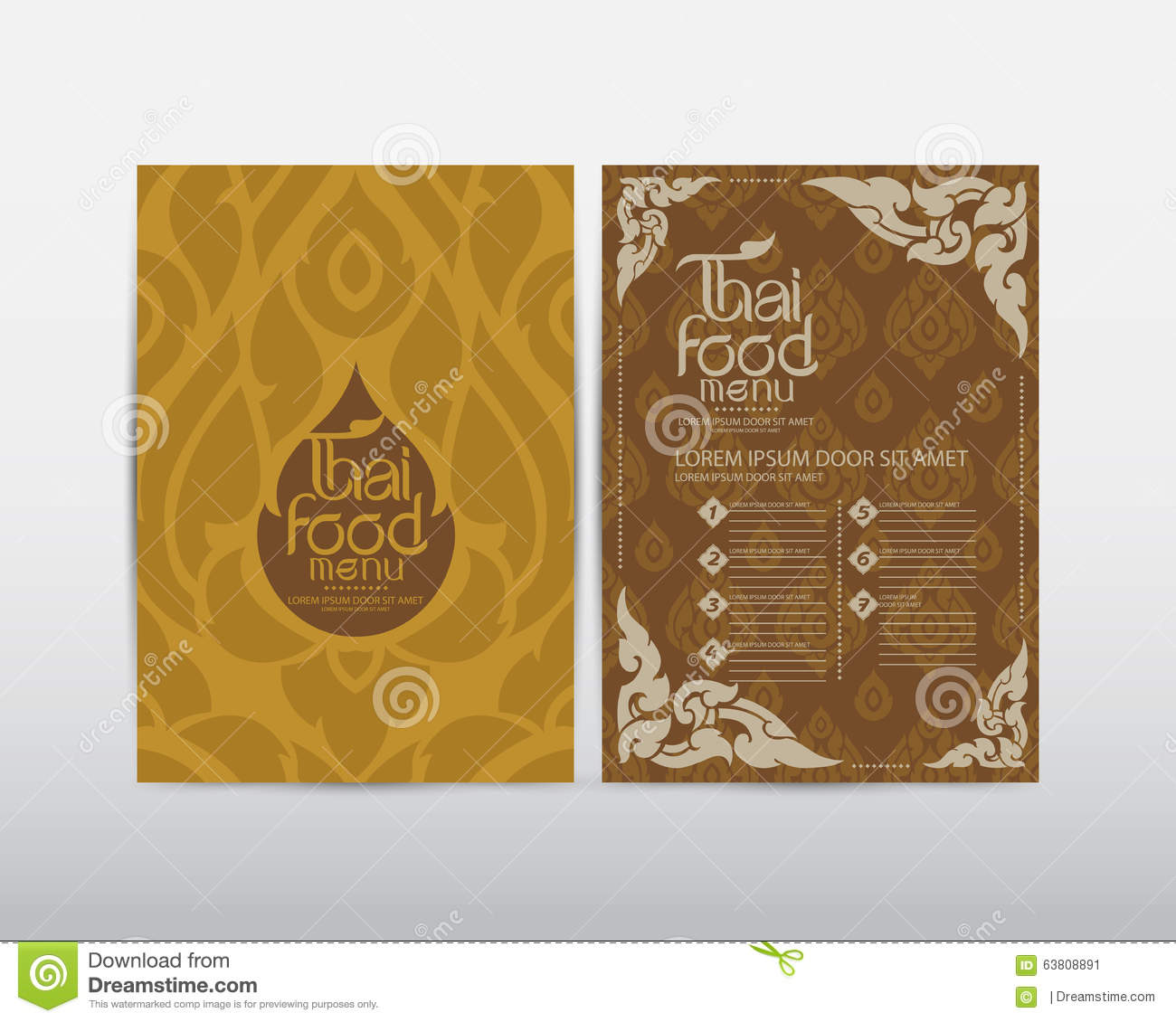 Thai art food menu design vector stock illustration for Artistic cuisine menu