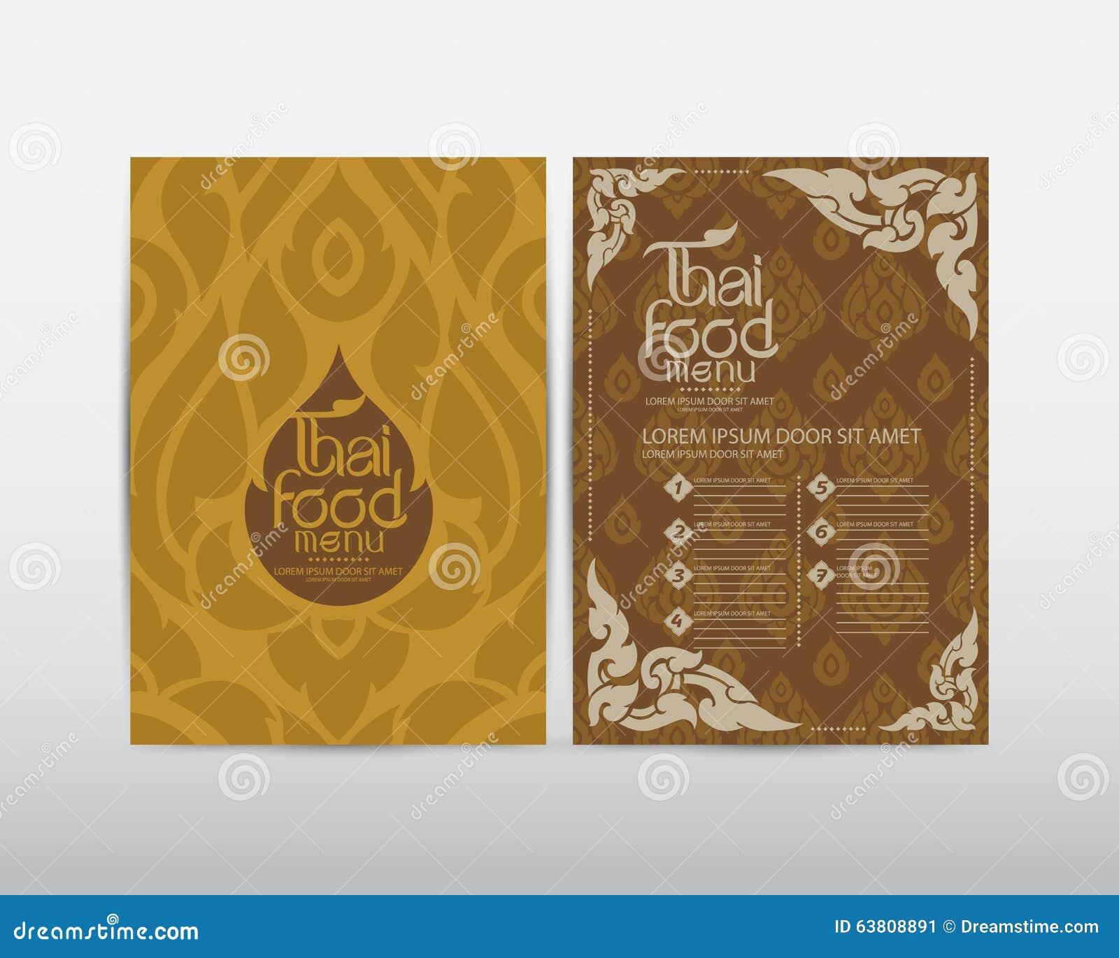 Thai art food menu design vector stock illustration for Artistic cuisine menu