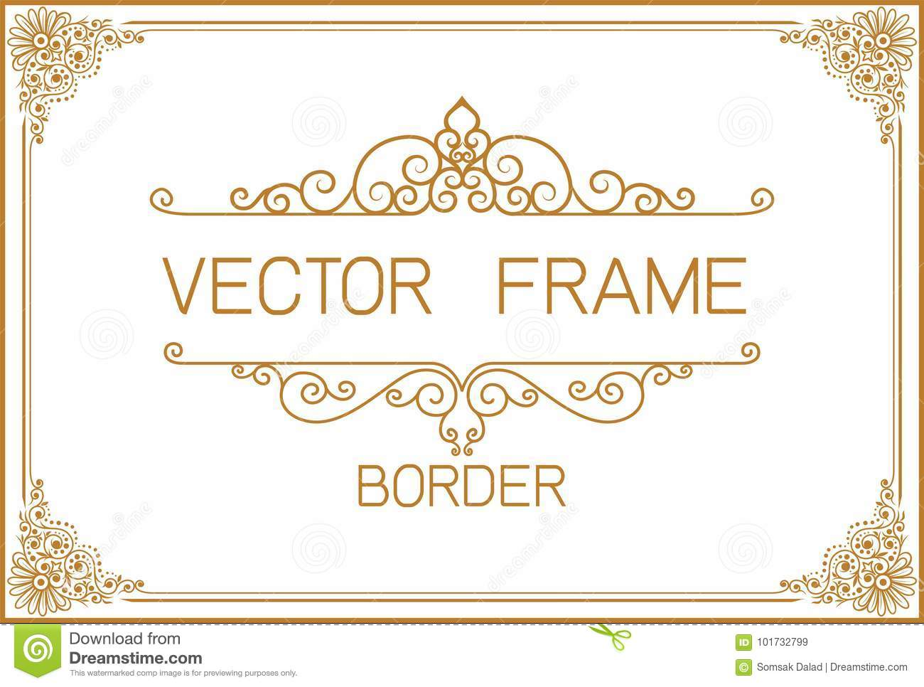 4225694070a Thai Art, Gold border frame with Thailand line floral for picture, Vector  design decoration pattern style.frame corner design is pattern
