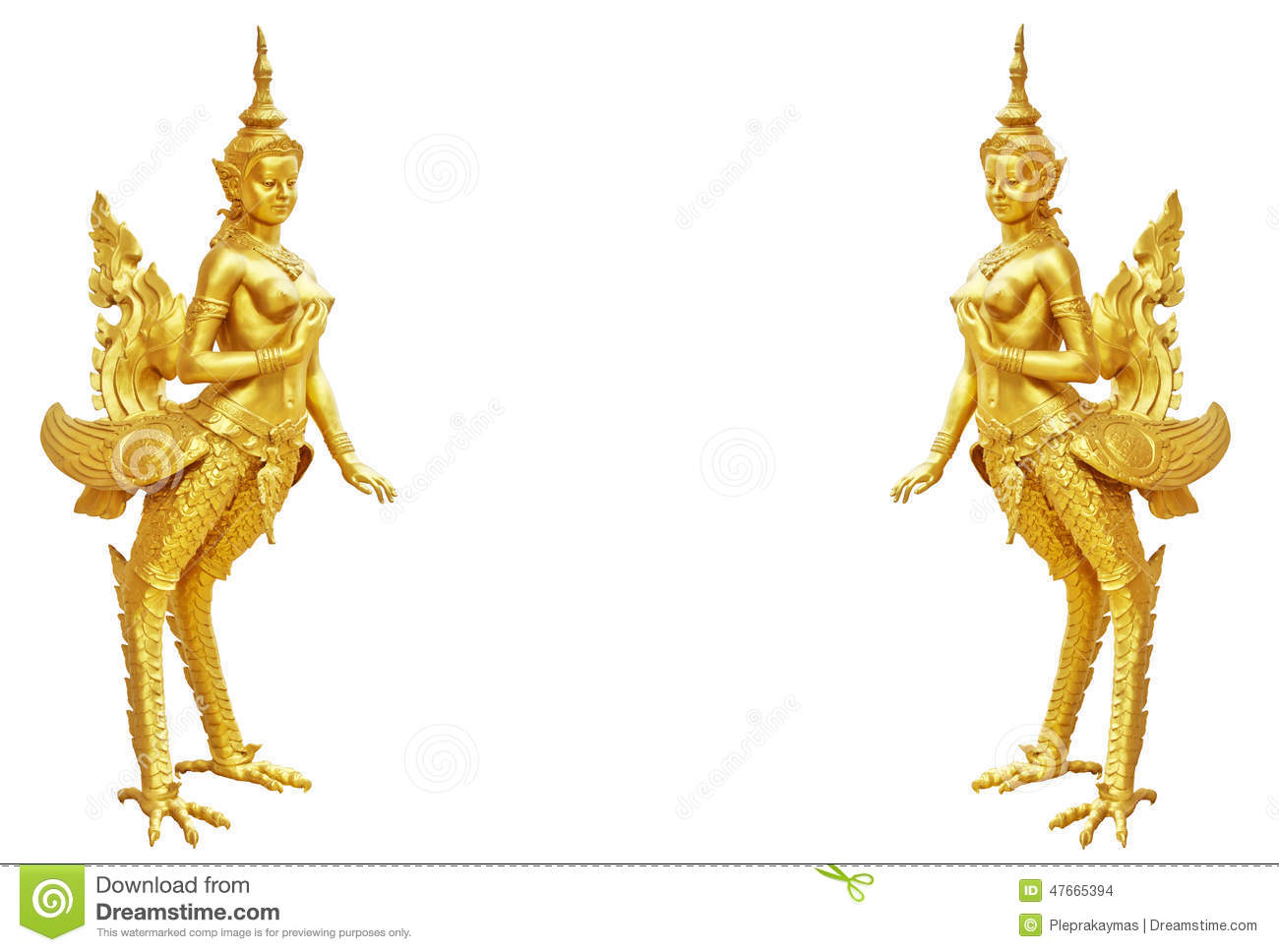 Thai art Kinnaree statue : The mythical half bird half woman