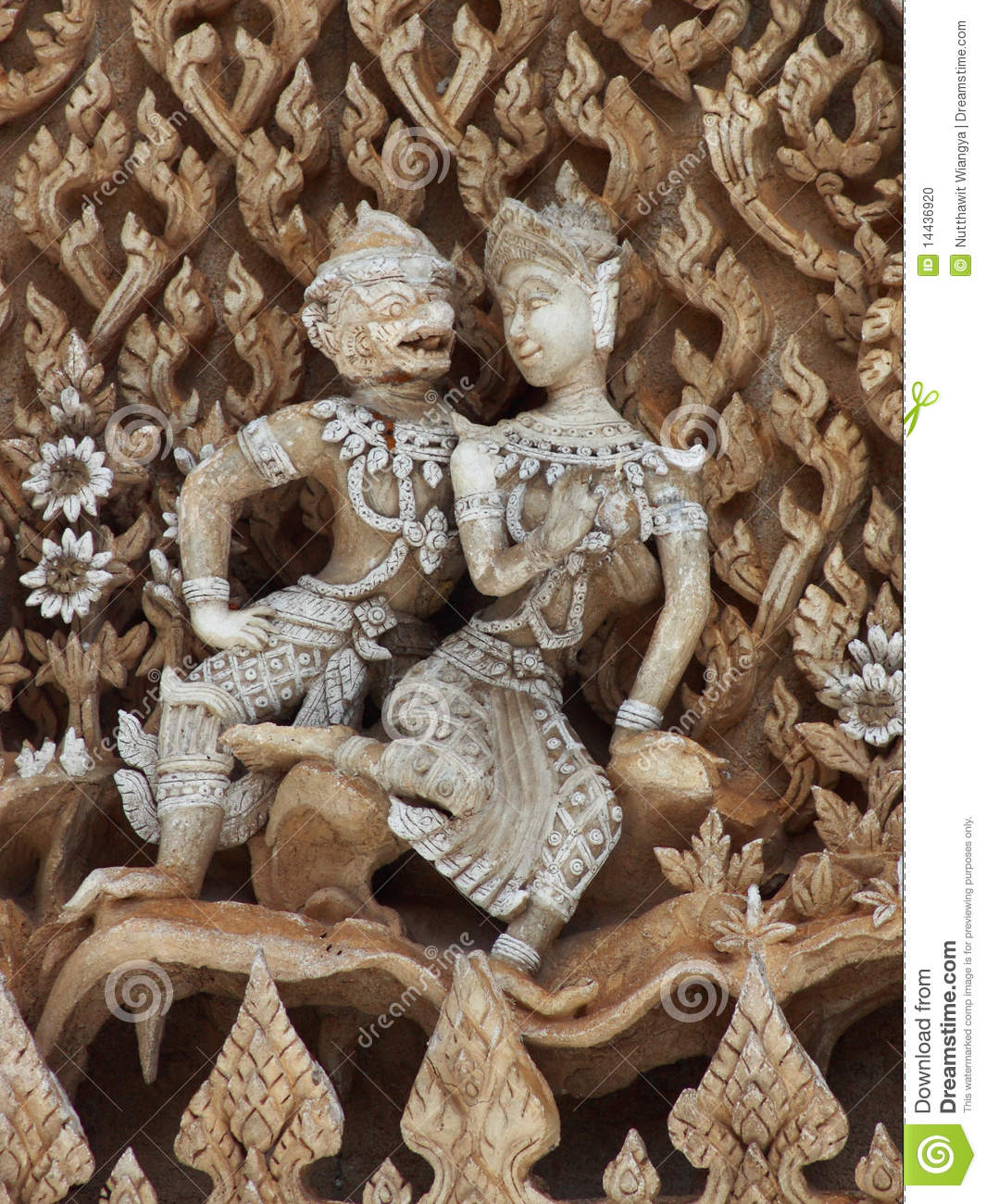 Thai art in love stock photo  Image of animal, cast, asian