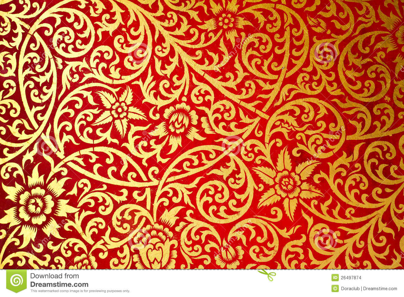 Thai Design Wallpaper : Thai art pattern old style the wall in temple stock