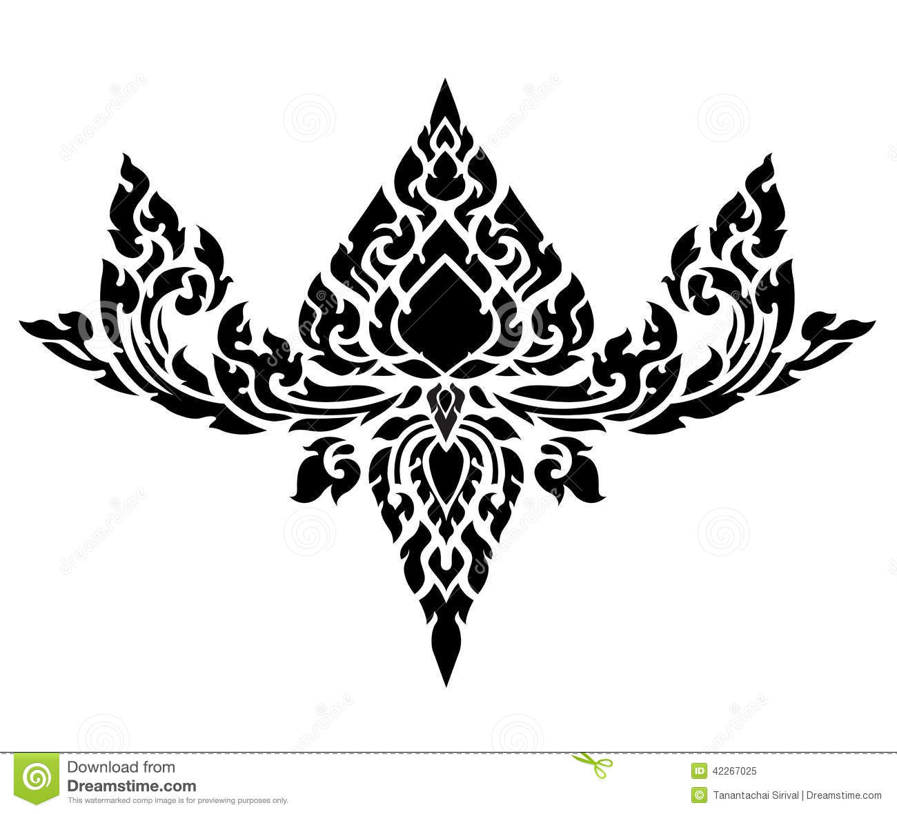Line Art Download : Thai art pattern vector stock image