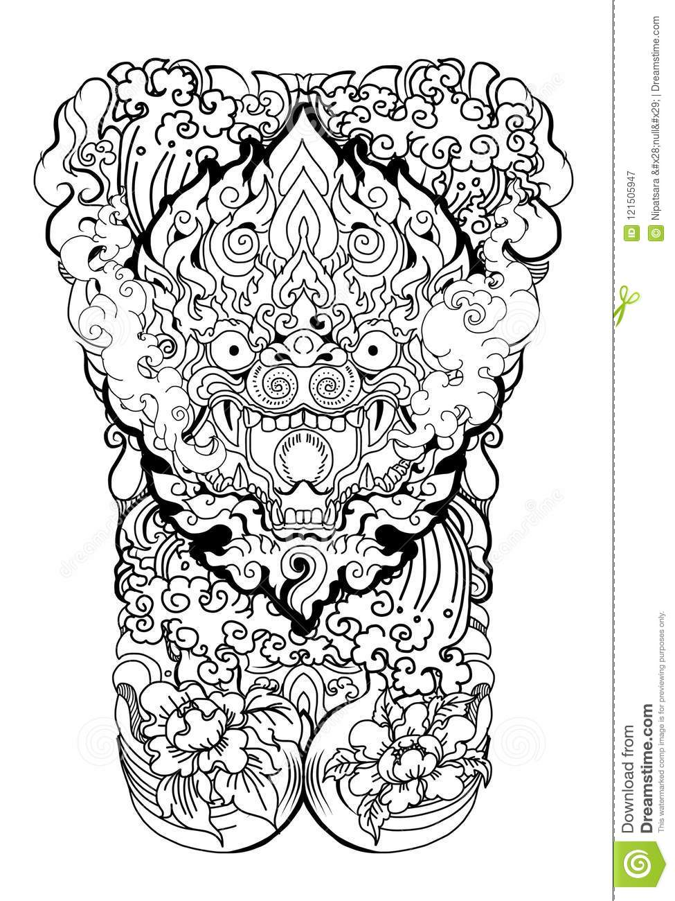 Anuman Monkey Face Design With Wave And Peony Flower On Cloud