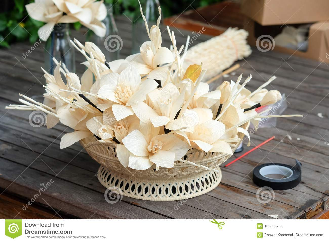 Thai Artificial Funeral Daffodil Flower Or Dok Mai Chan Stock Photo
