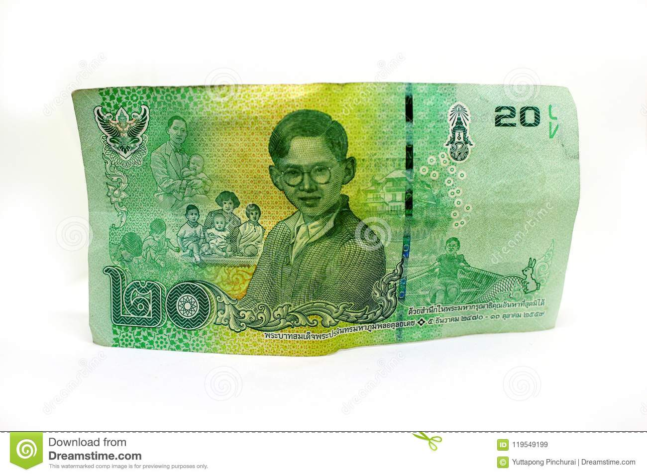 Thai 20 Baht Banknotes  Currency Banknotes Used In The Laws