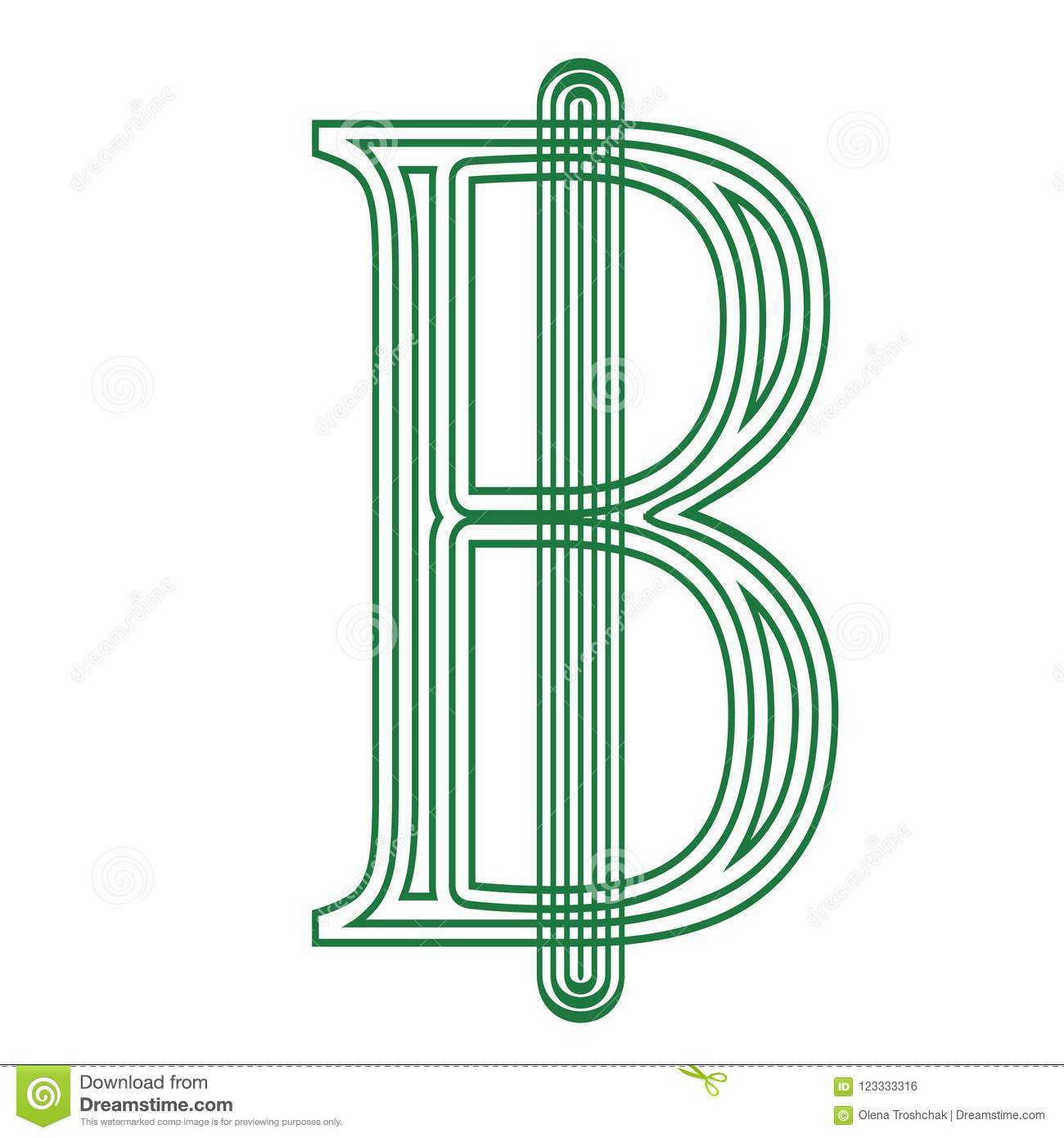 Thai Baht Thailand Currency Symbol Icon Striped Vector Illustration