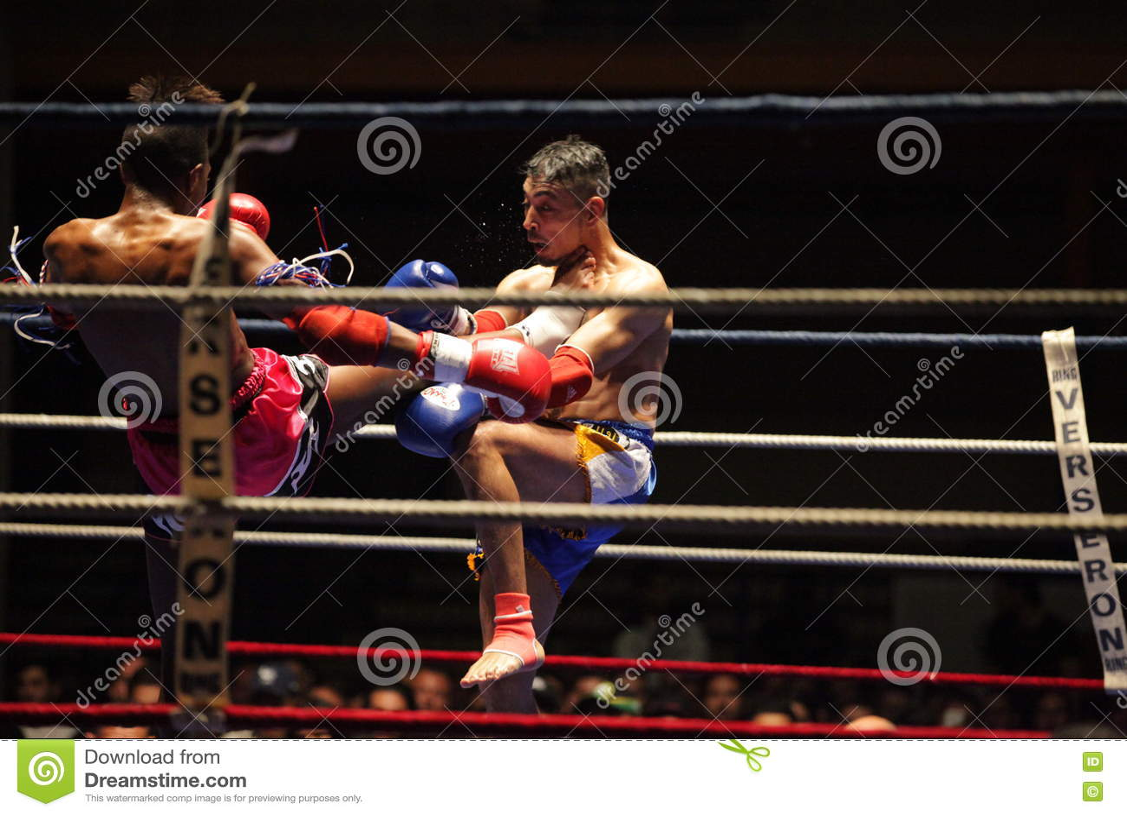 Thai boxers on ring