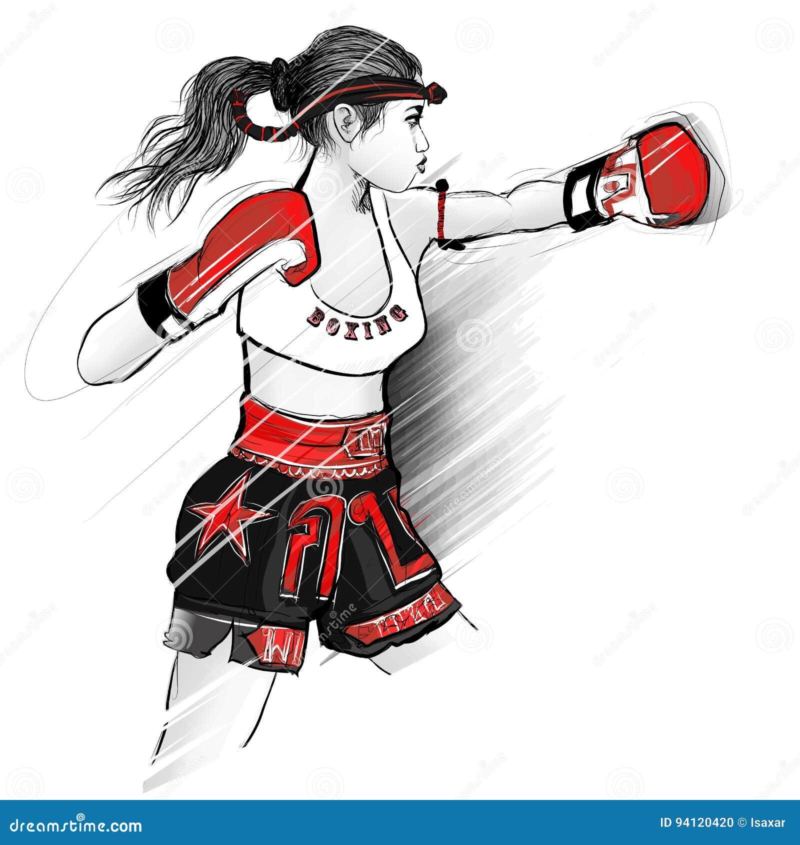 Thai Boxing Woman Fighting Stock Vector Illustration Of Girl
