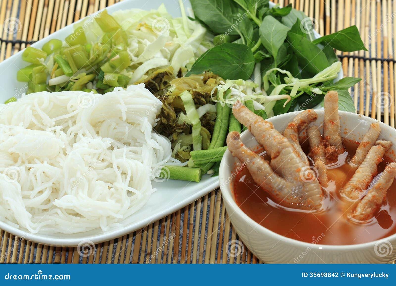 thai-chicken-leg-curry-coconut-noodle-soup-rice-noodles-vegetable ...