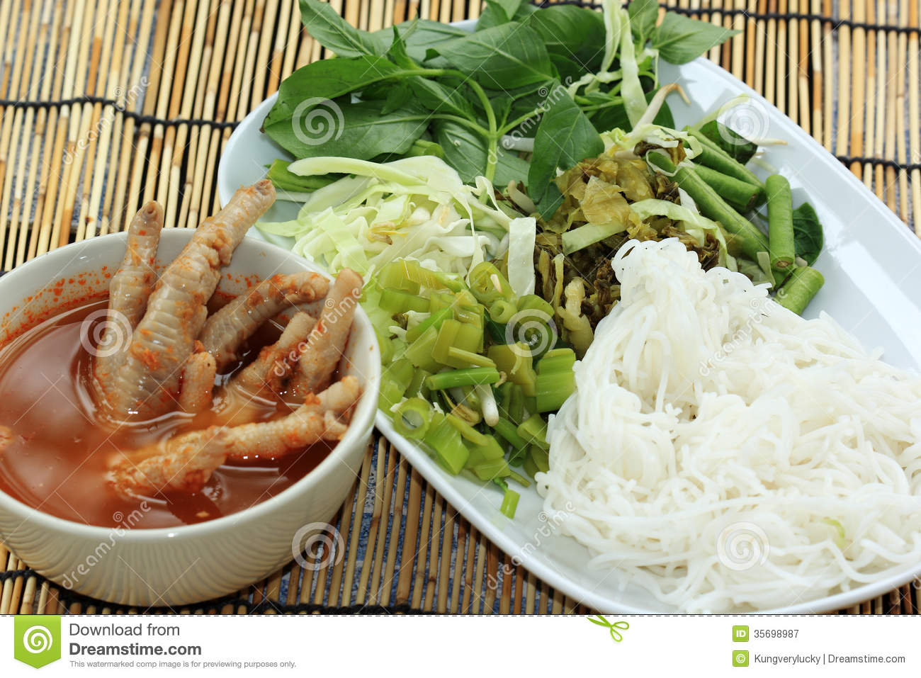thai-chicken-leg-curry-coconut-noodle-soup-rice-noodles-vegetable ...