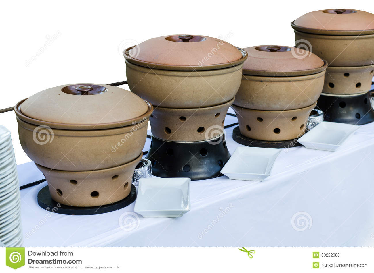 Dinner table with mexican food - Thai Clay Pottery Chafing Dish Heaters Stock Photo Image