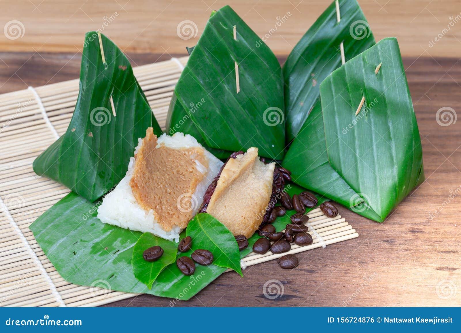 Thai Custard Black Sticky Rice Dessert On Banana Leaf ...
