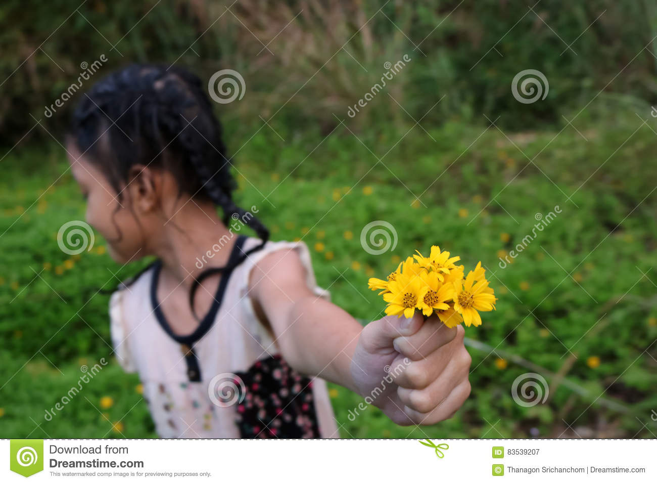 Thai Cute Girl With Yellow Flowers Stock Image Image Of Childhood