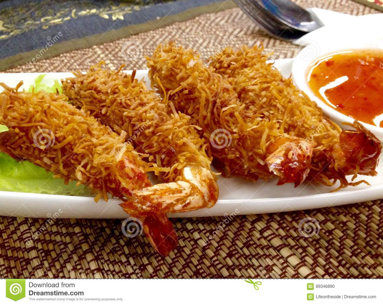 Thai deep fried coconut breaded prawns and sweet chilli sauce