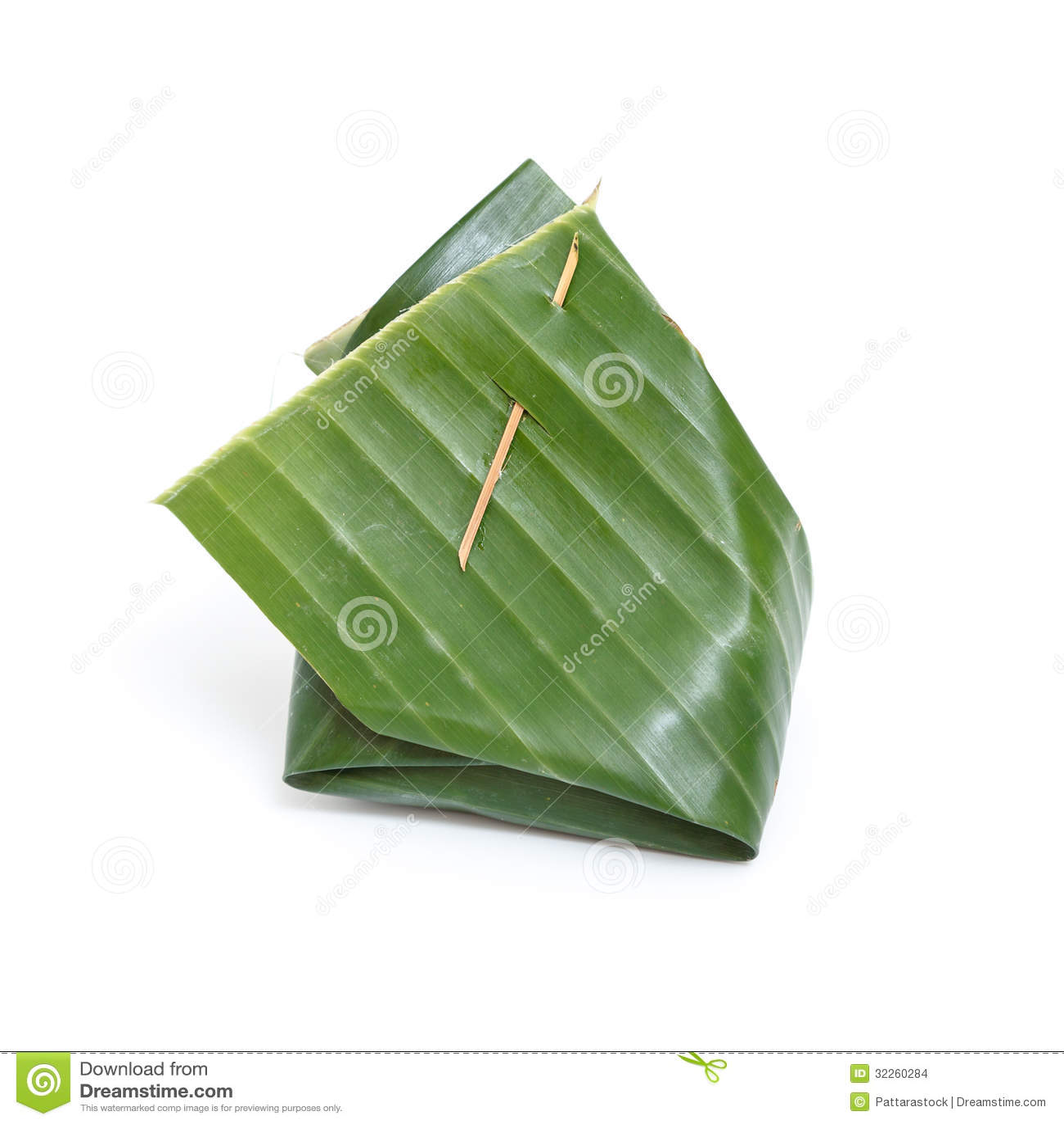 thai dessert in banana leaf on white background stock. Black Bedroom Furniture Sets. Home Design Ideas