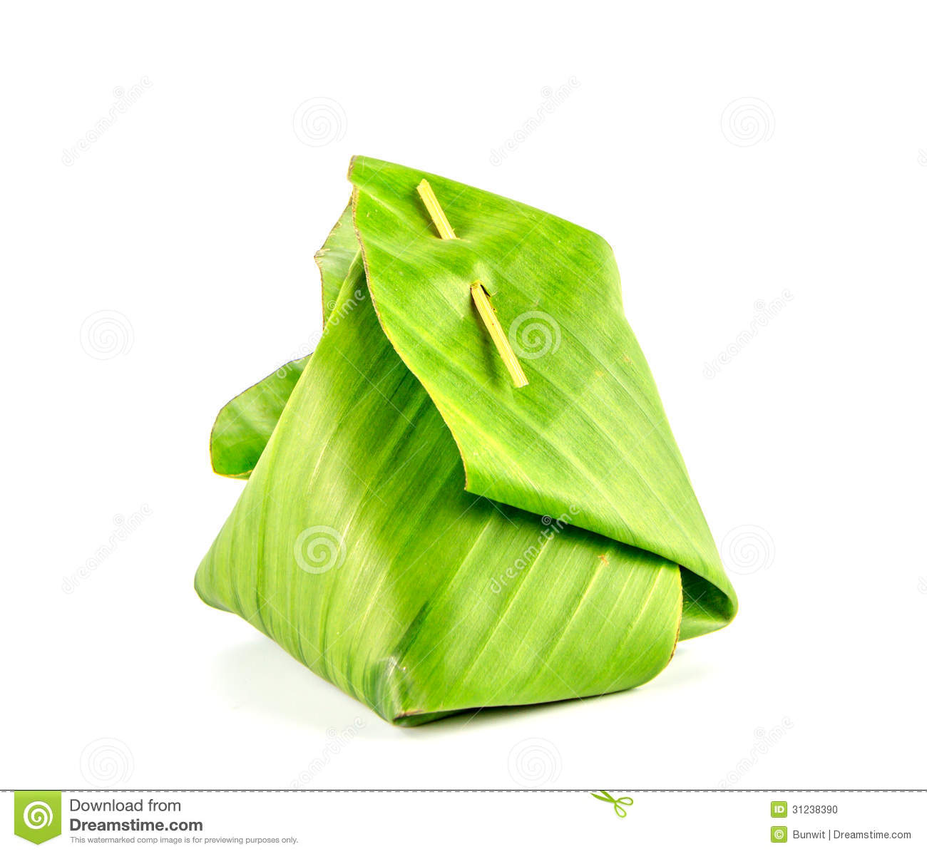 thai dessert package with banana leaf isolate stock photo. Black Bedroom Furniture Sets. Home Design Ideas