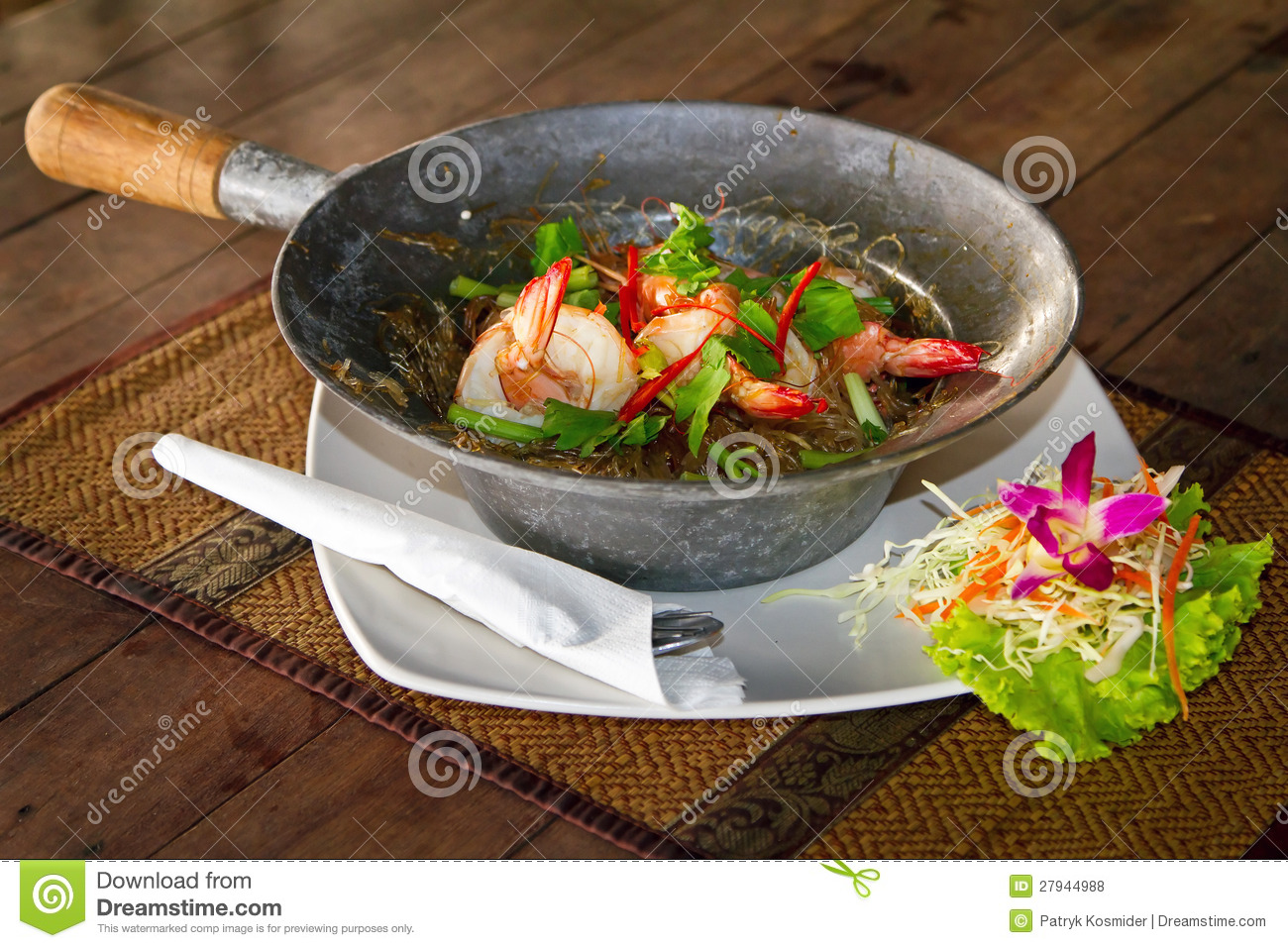Download Thai dish with king prawns stock photo. Image of delicious - 27944988