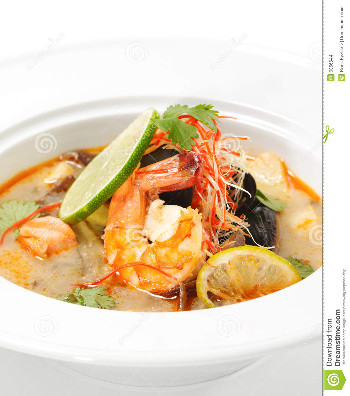 Thai Dishes - Tom Yam Kung. Spicy Shrimp Soup with Coconut milk, Lime ...