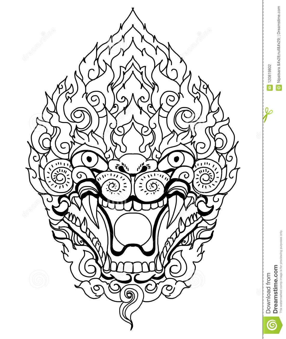 Thai Dragon Isolate Vector Line Thai Is Thailand Style And Tattoo
