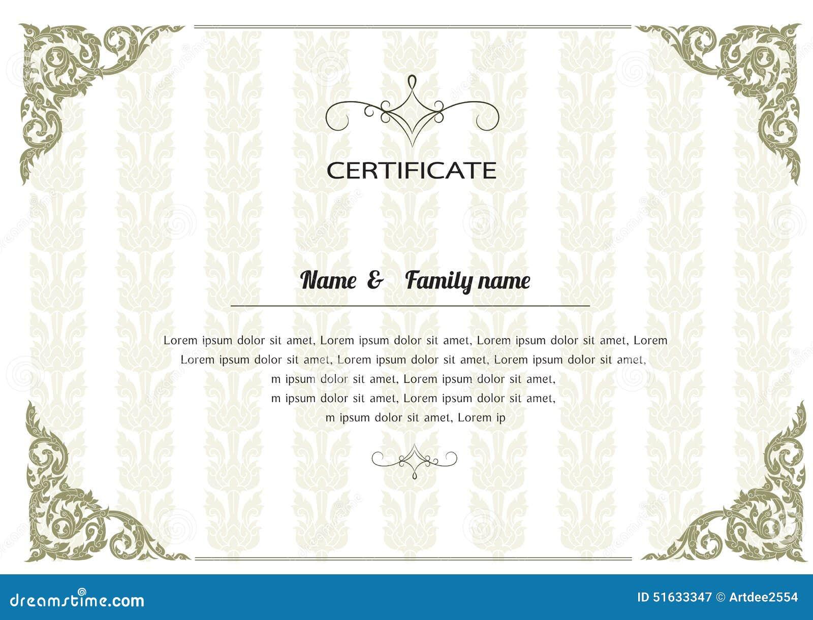 Stock Vector: Thai elegant art frame, certificate design template.