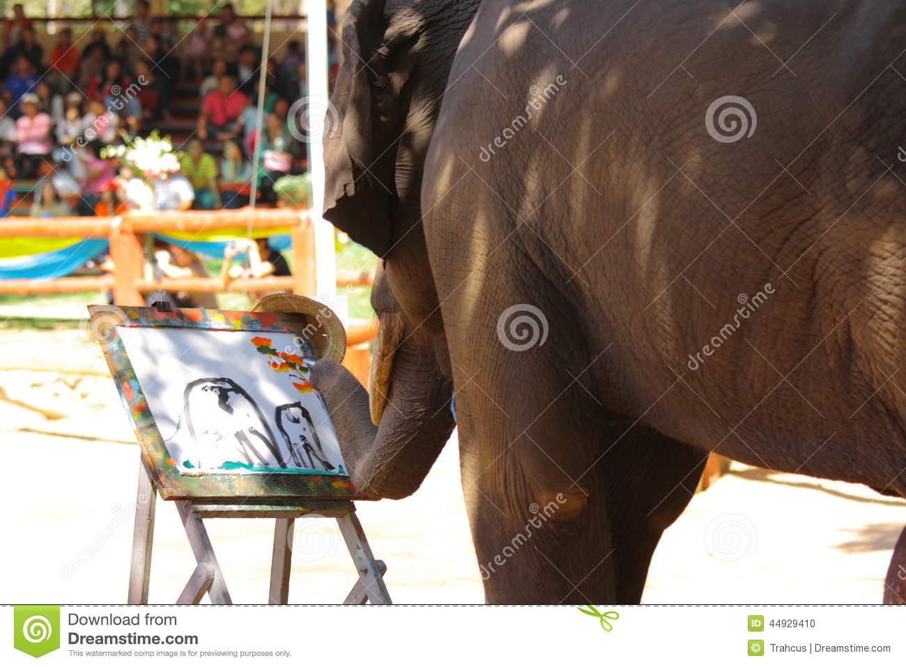 Thai elephant are drawing the picture