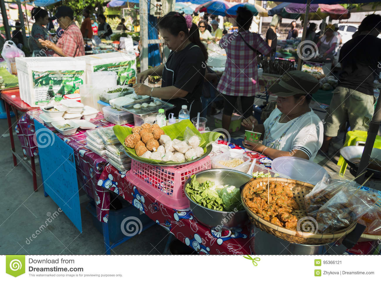 Thai Market Products And Fruits A Lot Of Greenery Editorial