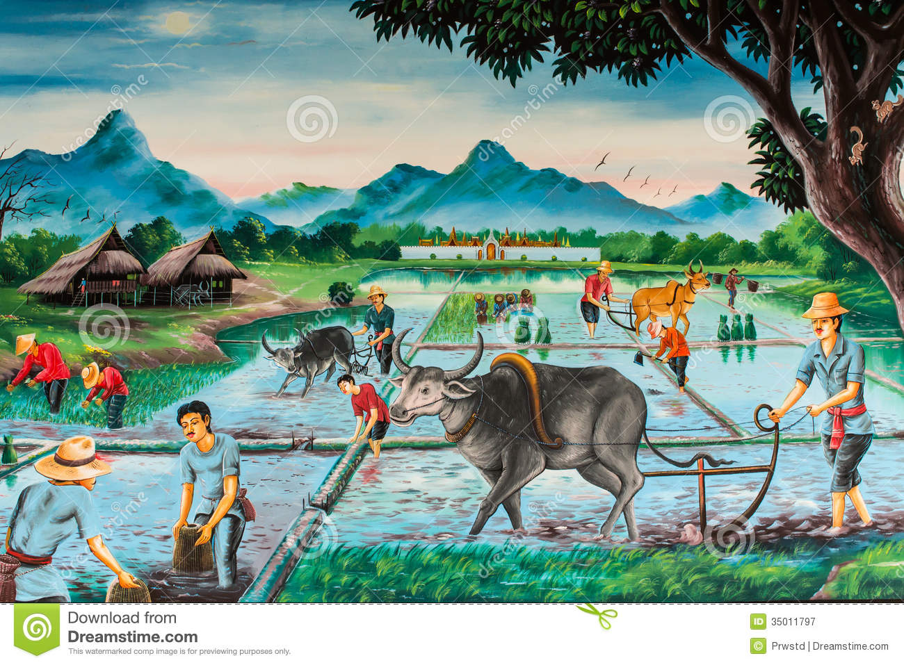 thai farmer village, art on the wall royalty free stock