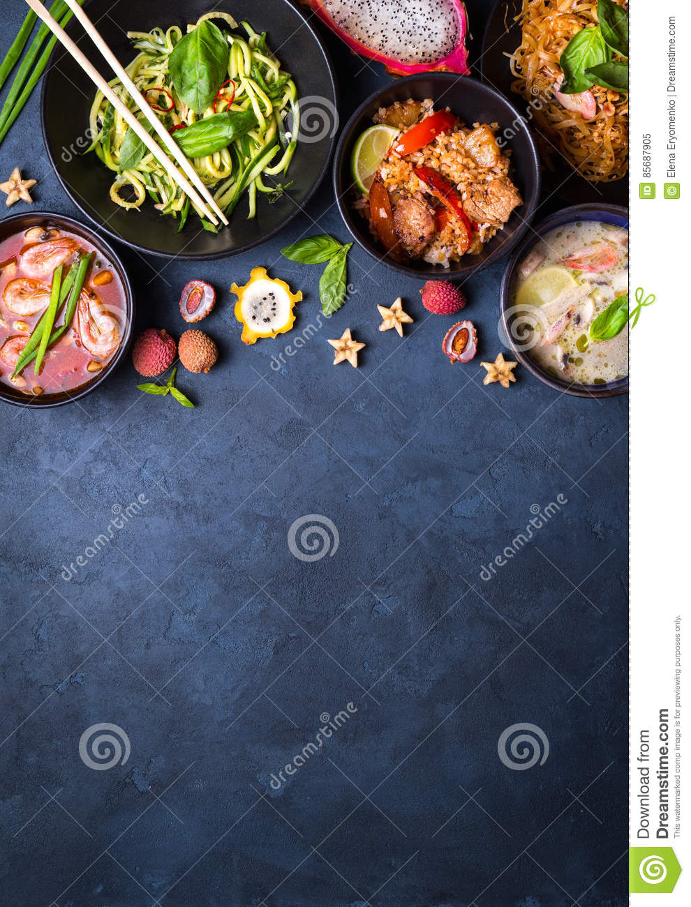 Thai food background stock image. Image of cooking, exotic - 85687905