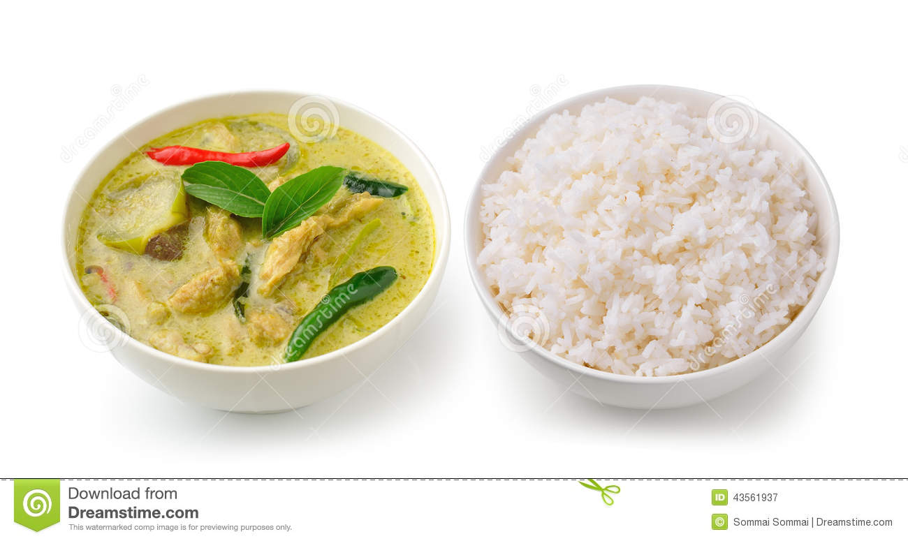 Thai food chicken green curry in the white bowl and rice for Cuisine on the green