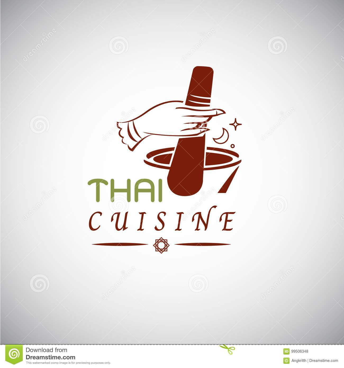 Thai Food Concept Thai Cuisine Logo Design Hand Draw In Thai S