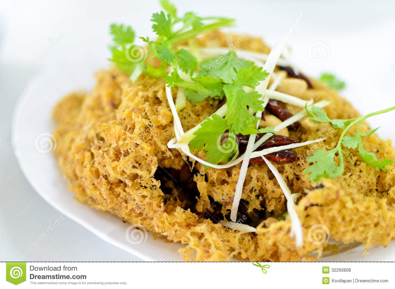 Thai food crispy catfish salad stock photo image 32290808 for Cuisine on the green