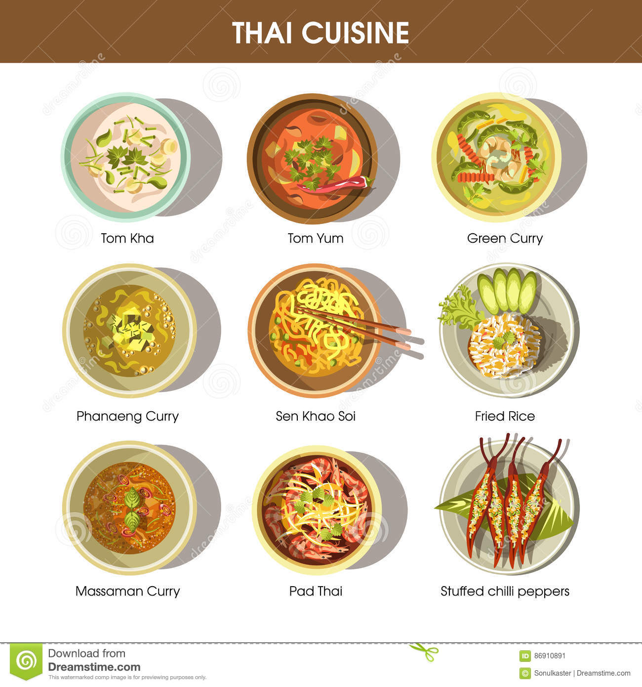 Thai food cuisine vector icons for restaurant menu stock for Cuisine restaurant