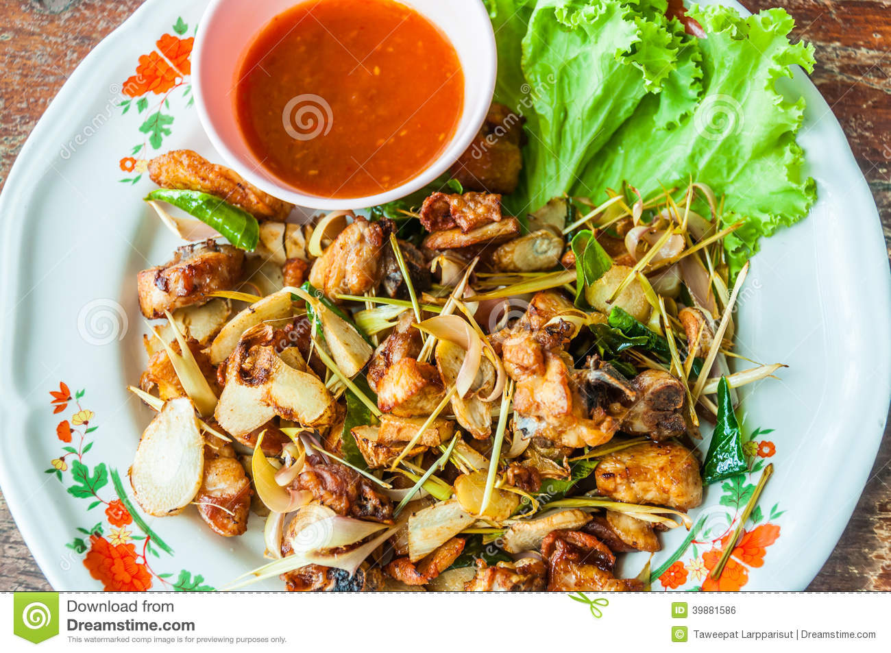 Thai food fried chicken with herbs stock photo image for Table 52 fried chicken recipe
