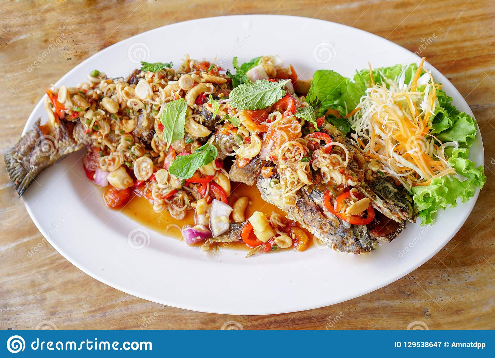 Thai Food,Snakehead fish on a white plate