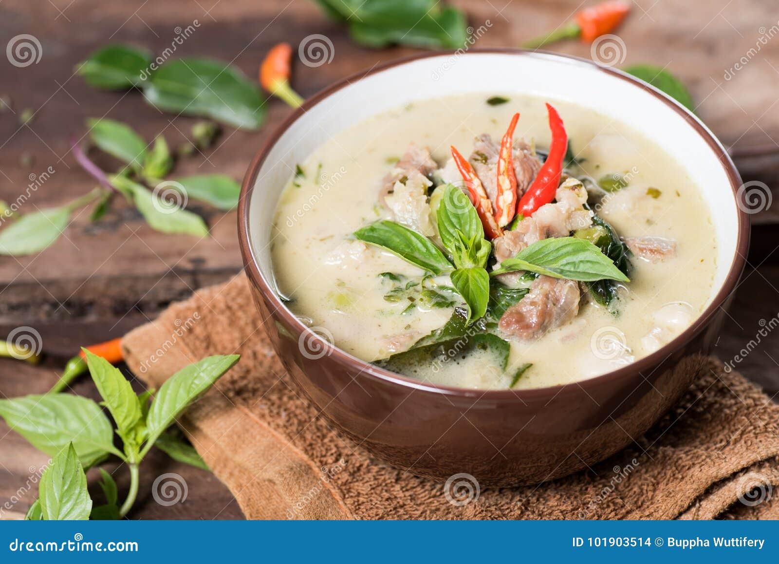 Thai food Kaeng Khiao Wan,Green curry with pork