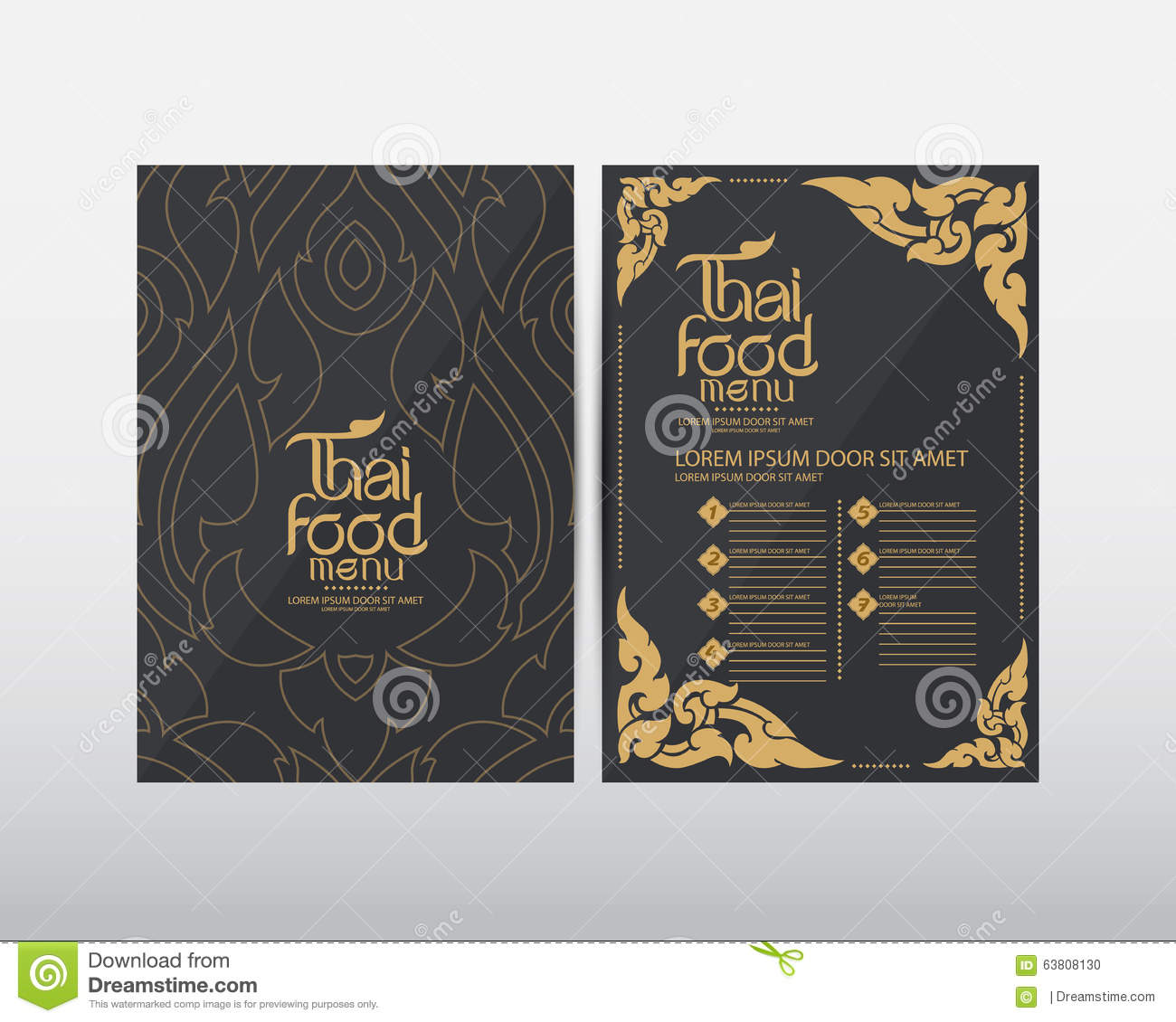 thai food menu template vector stock illustration