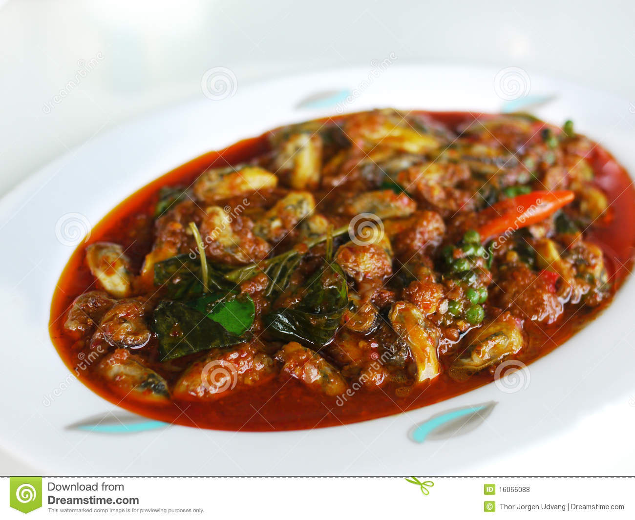 Thai Food, Mussels In Hot, Red Curry Royalty Free Stock Photos - Image ...