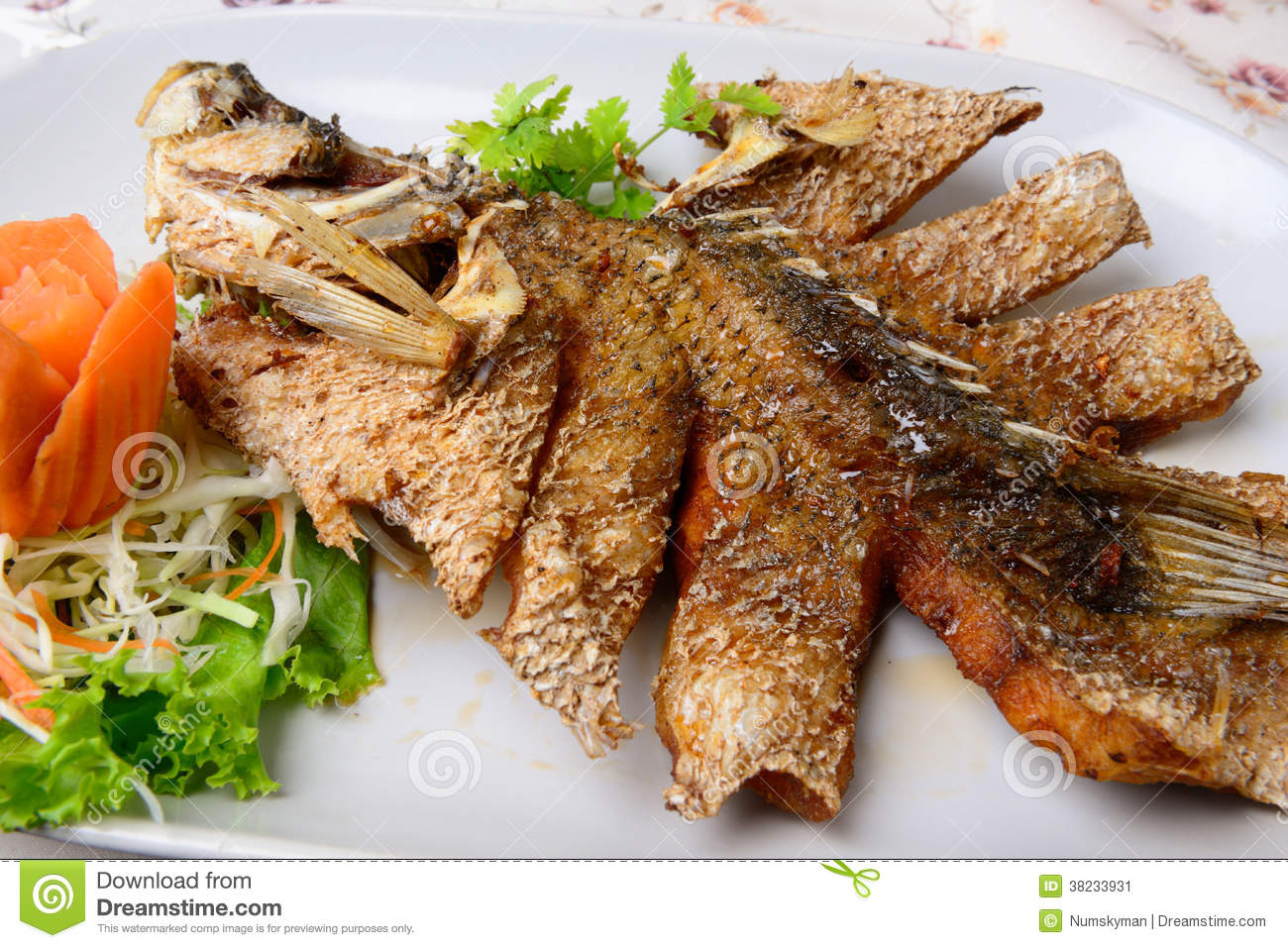 Thai Food Name Deep Fried Snapper With Sweet Fish Sauce